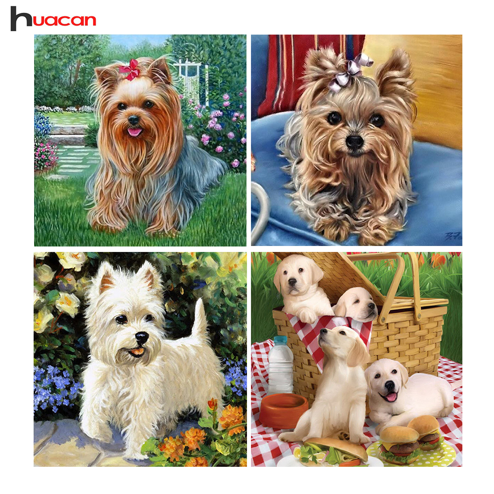 HUACAN Dog Diamond Painting Cross Stitch Wall Decor Diamond Embroidery Resin Full Square Animal Rhinestone DIY Diamond მოზაიკა
