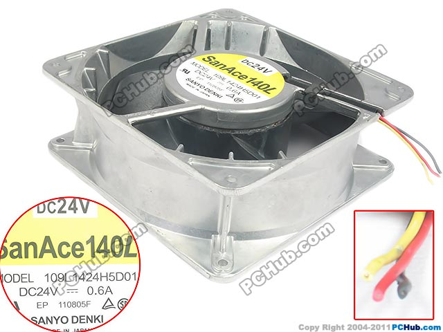 Free Shipping For SANYO 109L1424H5D01 DC 24V 0.60A 3-wire 140X140X51mm Server Square fan free shipping 370 6072 03 540 6706 01 server fan for sun netra440 n440 tested working