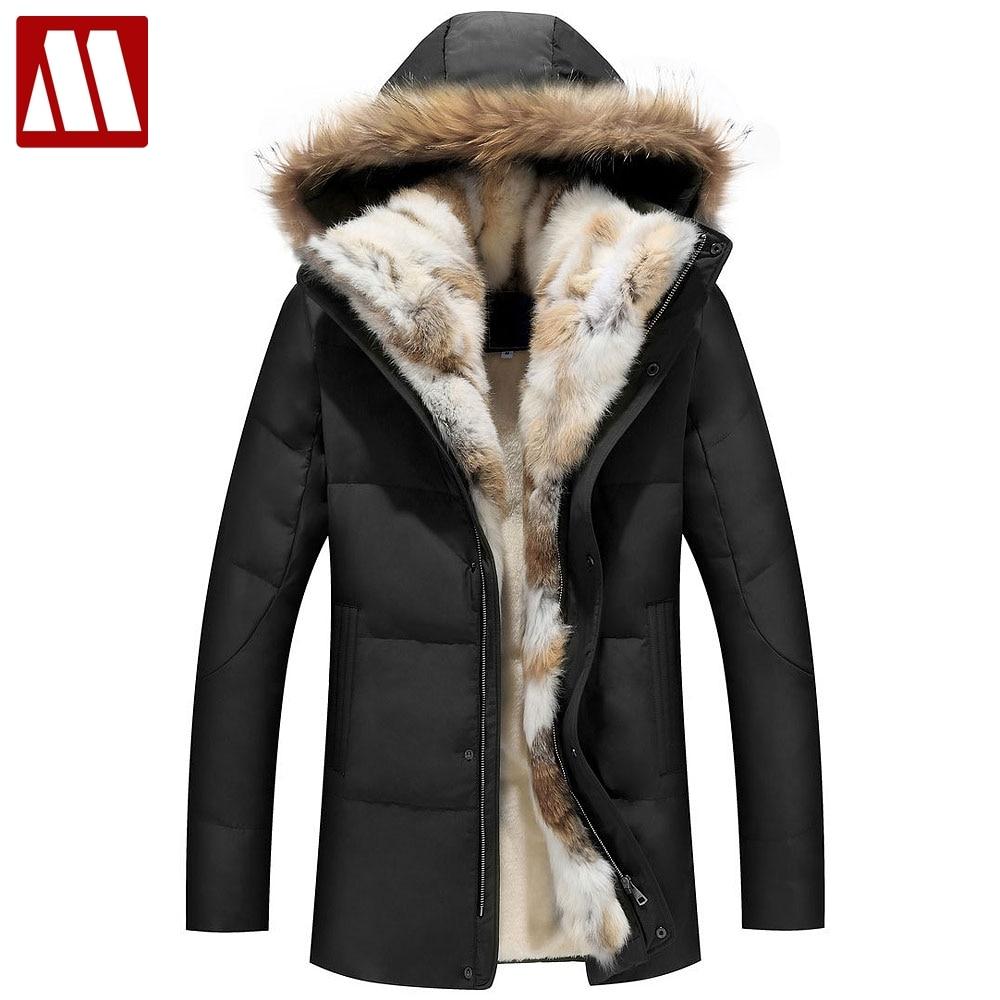 2018 зимние унисекс пуховики съемный меховой воротник пальто с капюшоном теплая верхняя одежда с натуральным кроличьим енота капюшон Для жен...