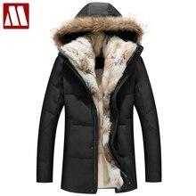 2018 зимние унисекс пуховики съемный меховой воротник пальто с капюшоном теплая верхняя одежда Настоящий Кролик енот капюшон женские мужские толстые пальто