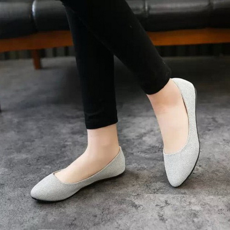 Hot Summer Fashion Simple Single Women Shoes Candy Color Glitter Ballet Ballerina Pointed Toe Flats Casual Slip On Loafers Shoes 2017 spring summer new women casual pointed toe loafers flats ballet ballerina flat shoes plus size 34 43
