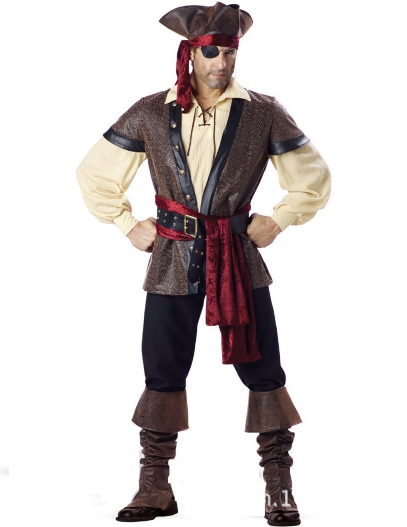 Deluxe Men's Pirate Costume Movie Captain Jack Ruthless Rogue Pirate Buccaneer Swashbuckler Clothing Halloween Costume pirate jack looks for treasure