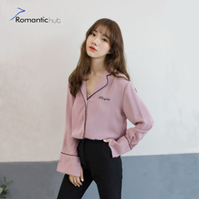Fashion Women Blouses Exclusive Korea style Letter Embroidery Long Sleeve Lines Sense Chiffon Shirt Polo Neck Loose Casual Shirt
