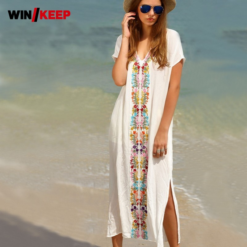 White Sarong Long Beach Tunic And Beach Dress One Piece Summer Embroidery Clothes For Women Bathing Swimwear Women Robe Plage