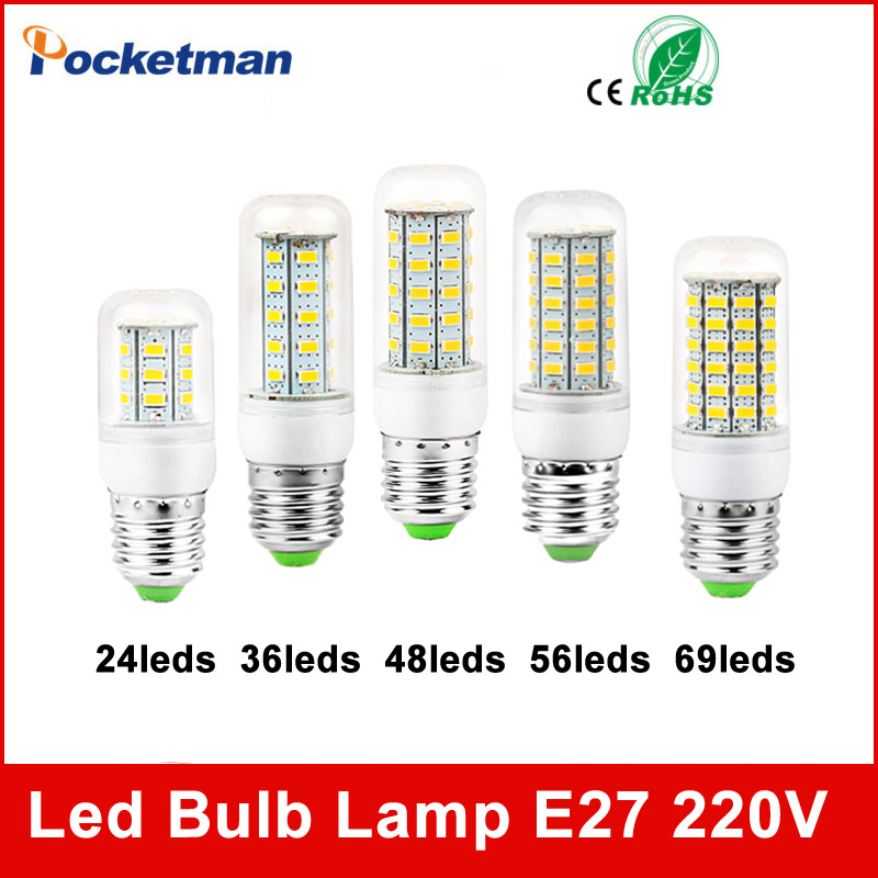 High Power 220V Christmas Lights SMD5730 Led Lamp Warm White/ White,24 36 48 56 69LEDs Lampada Led Bulb E27 E14