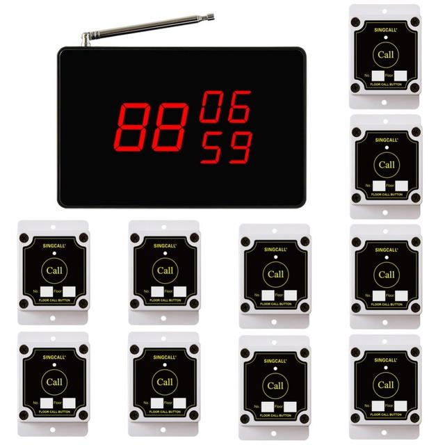 Singcall sem fio chamando sistema local de construção, fábrica sistema de sino, 1 Tela do Receptor e 10 Botões