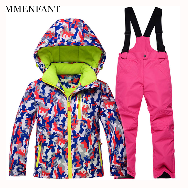 Outdoor Wear Kids Ski Suit Children Red camouflage jackets with Hood Warm Boys Girls Winter Jumpsuits For -30 Degree 5-12 Years children wear new autumn winter girls princess dress suit kids clothing red silk with jackets mesh flowers