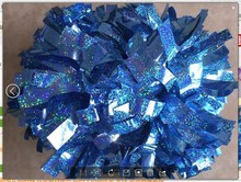 cheerleading Pom poms 3/4″x 6″~custom color metallic holographic royal blue