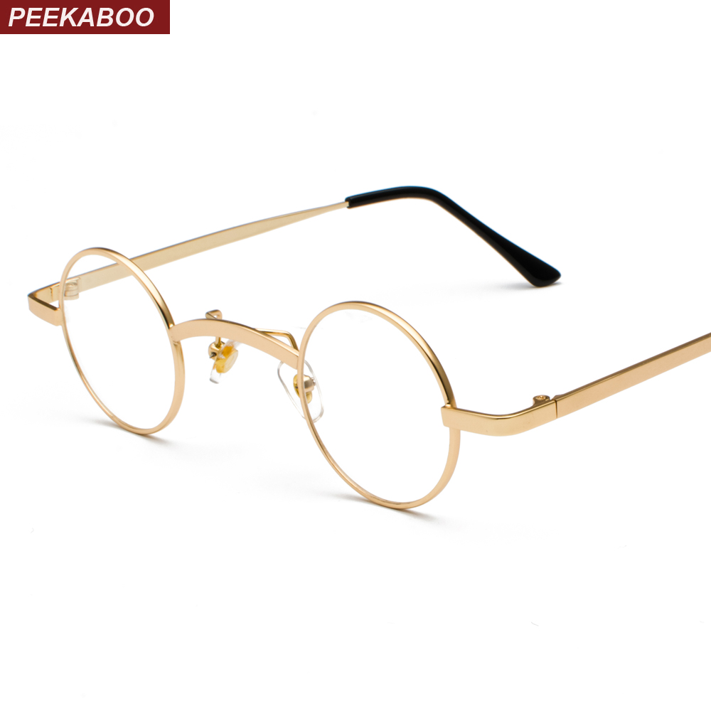 Peekaboo Small Round Eyeglasses Frames Men Vintage 2018 Silver Gold Mens Womens Nerd Glasses Clear Lens Eyewear Unisex
