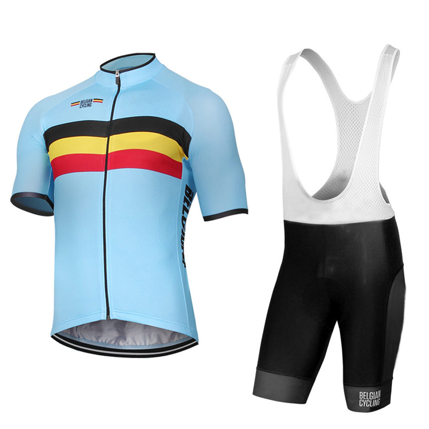 Belgium Belgian Cycling Jersey and Bib Shorts Kit Men Short Sleeve Bicycle  Clothing Quick Dry Breathable Bib Pants with GEL Pad-in Cycling Sets from  Sports ... 6791b74a6