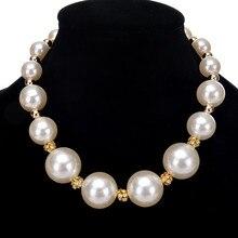 Neue Mujer Big White Simulierte Halsketten Perle Choker Moda Mode Für Frauen Charme Schmuck Perlen Geometrische