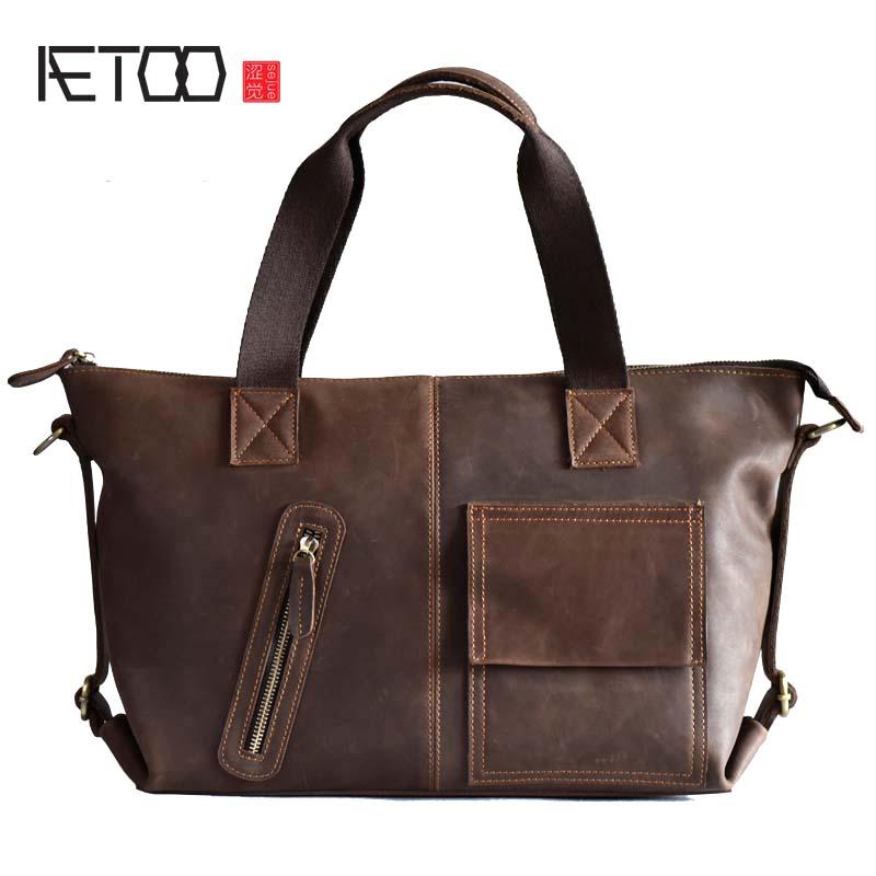 цена на AETOO New Leather Handbag Leather Leisure Crazy Horse Shoulder Messenger Bag Cross section Japan and South Korea Men's Briefcase