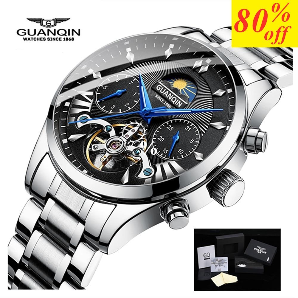 Marque de luxe GUANQIN horloge hommes montres natation automatique mécanique montre hommes or reloj hombre acero inoxydable imperméable