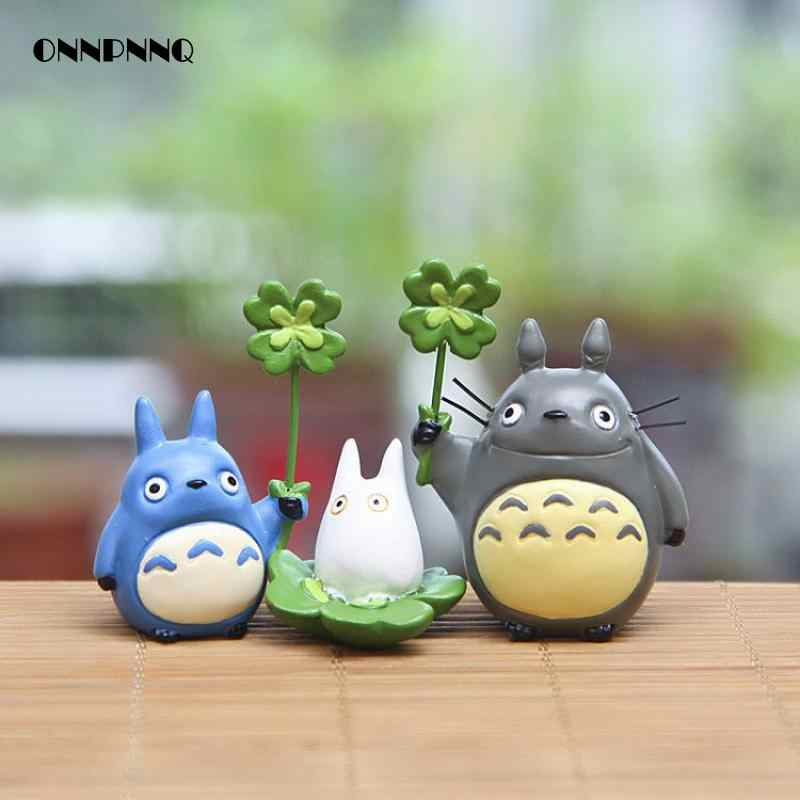 Kawaii Diy Cartoon Resin Totoro Figurines With Luck Green Grass Miniatures Micro Landscape For Kids Gift  Doll Toy  Decoration