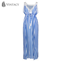 Vintacy Women Blue Stripe Long Dress Summer Tasseled Tie Sleeveless Split Dress Lady Deep V Neck