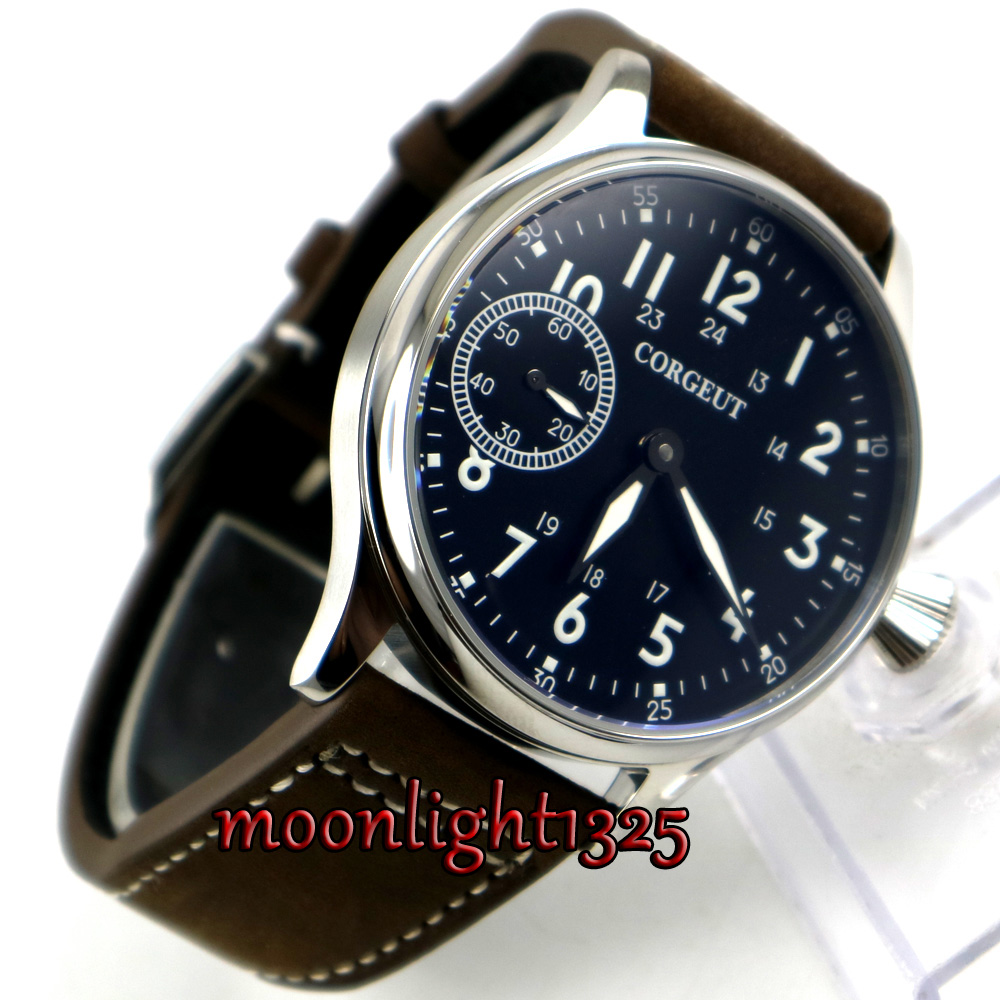 44mm corgeut black dial luminous marks 6497 hand winding mens watch lhd