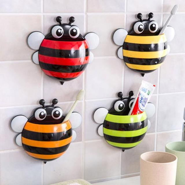 Super Deal Toothbrush Holder Set Family Wall Bee Mount Rack Bath Bathroom Accessories