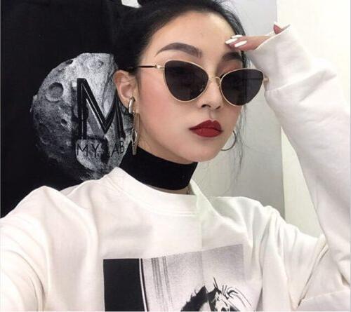 26256cfe92 Ladies cateye sunglasse metal Women Brand Designer Fashion Rimless Clear  Ocean Lenses Sun Glasses UV400