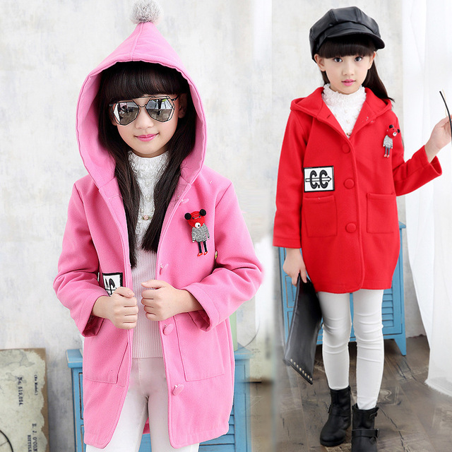 The New 2016 Sweet Child Coat Girl Autumn Outfit Children Bear Woolen Cloth Coat Baby Clothes