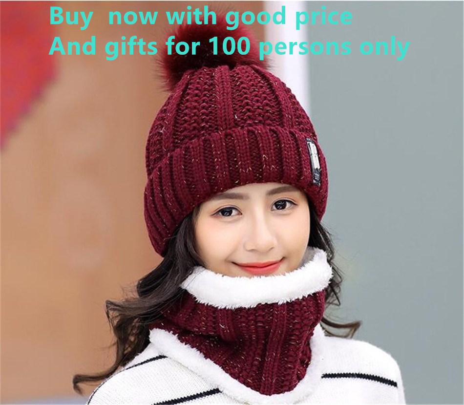 Yyun Winter Hat and Scarf Set Women Chunky Knit Hats Snood Set Ladies Lurex  Thickened Neck Warmer Fleece Cap with Pom Poms-in Scarf 49a5411564b