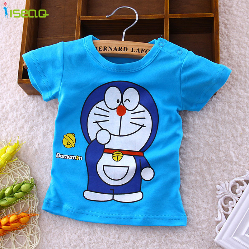 Baby Boys T-Shirts Summer Boys Kids Clothes Short Sleeve Cotton T Shirt Cartoon Doraemon Baby Kid Band New Children 6M-3Y BT001