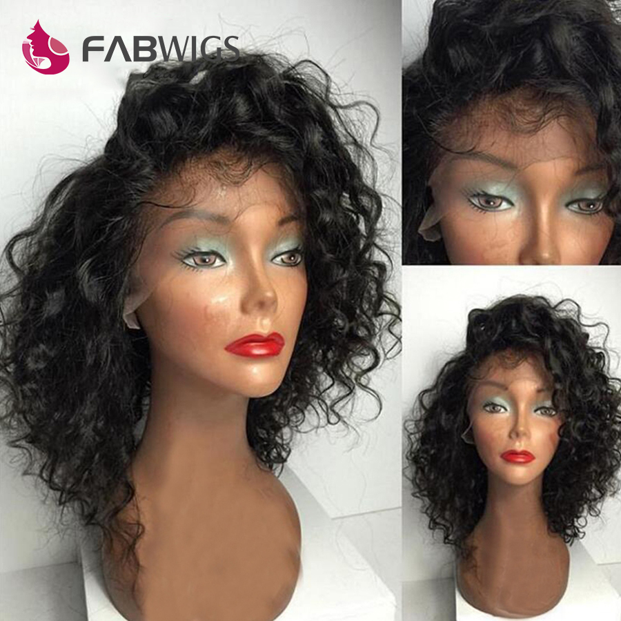 Fabwigs Bob Peluca de encaje rizado frente pelucas de cabello humano brasileño corto pelucas de cabello humano para mujeres negro Bob frente de encaje peluca Remy cabello-in Peluca de encaje de cabello humano from Extensiones de cabello y pelucas on AliExpress - 11.11_Double 11_Singles' Day 1