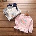V-TREE Girls Cotton TShirts Baby Girl Long Sleeve Cartoon Bird Hoodies 2017 Spring Children Casual T-Shirt Kids T Shirt