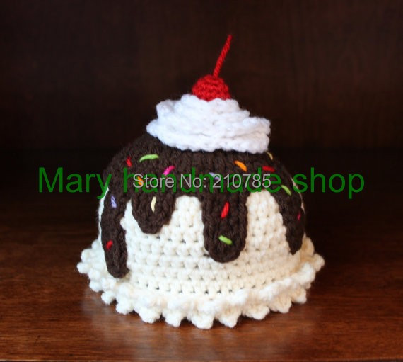 Crochet Baby hat Hand made Cute Baby Ice Cream Sundae cap Baby Beanie Newborn Photo props Free shipping