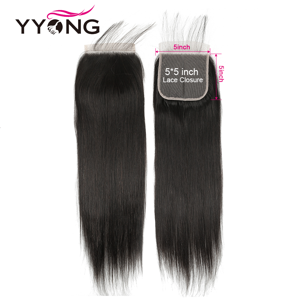 Yyong 5X5 Lace Closure Brazilian Straight Hair 100% Remy Human Hair Bleached Knots Free Part Lace Closure Natural Hairline