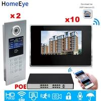 Wifi IP Video Door Phone Intercom Video Door Bell Access Control System Password/RFID Card Ios Android APP/2 Doors 10 Apartments