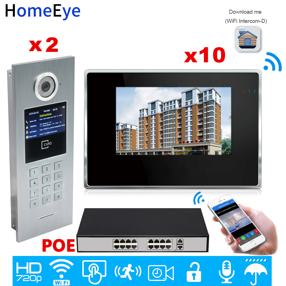 WiFi IP Video Door Phone Intercom Video Door Bell Access Control System Password/RFID Card IOS Android APP/2 Doors 10 Apartments