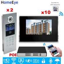 WiFi IP Video Door Phone Intercom Video Door Bell Access Control System Password/RFID Card iOS Android APP/2 Doors 10 Apartments цена в Москве и Питере