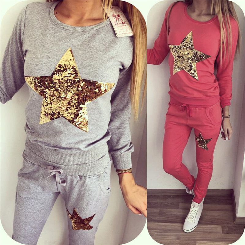 2 Piece set Women Casaul Tracksuit Round Neck Long Sleeve Sequined Five-Pointed Star Sweatshirt Top And Pants Sweat Suit ...