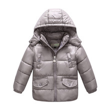 Winter Jacket for Girls Cute Kids Down Coat with Pocket Hooded Winter Boys White Duck Down