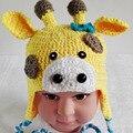 Gorro de Crochê Chapéu Orelha da Vaca do bebê 0-12 Meses Chapéu Handmade Malha Suave Crochet Bonnet Newborn Fotografia Props Caps Chapéus coloridos