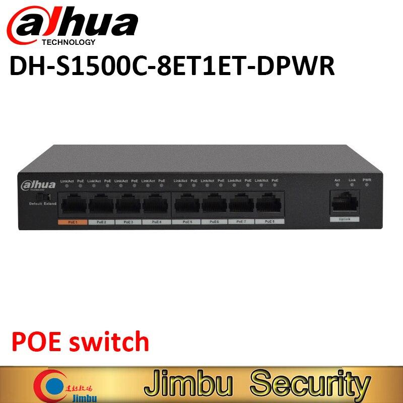 Dahua 8 Port POE Switch S1500C-8ET1ET-DPWR IEEE802.3af IEEE802.3at Hi-PoE 1*10/100Mbps 8*10/100 Mbps DH-S1500C-8ET1ET-DPWR