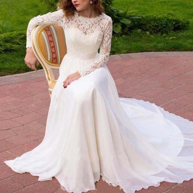 Sexy manches longues plage robe De mariée 2019 Boho Scoop dentelle perles bouton ceintures arc mariage robe De mariée robes De mariée De Noivas