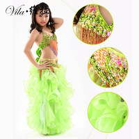 New Handmade Children Belly Dance Costume Set Kids Belly Dancing Girls Bollywood Indian Performance Costumes 3PCS