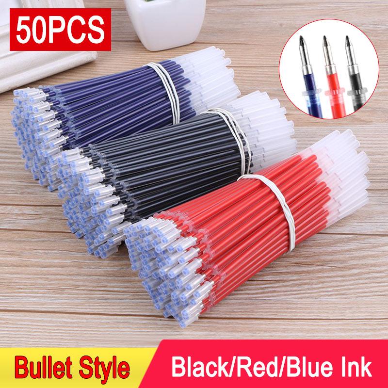 DELVTCH 0.5mm 50pcs/lot Gel Pen Refill Office Signature Rods For Handless Red Blue Black Gel Ink Refill Office School Supplies