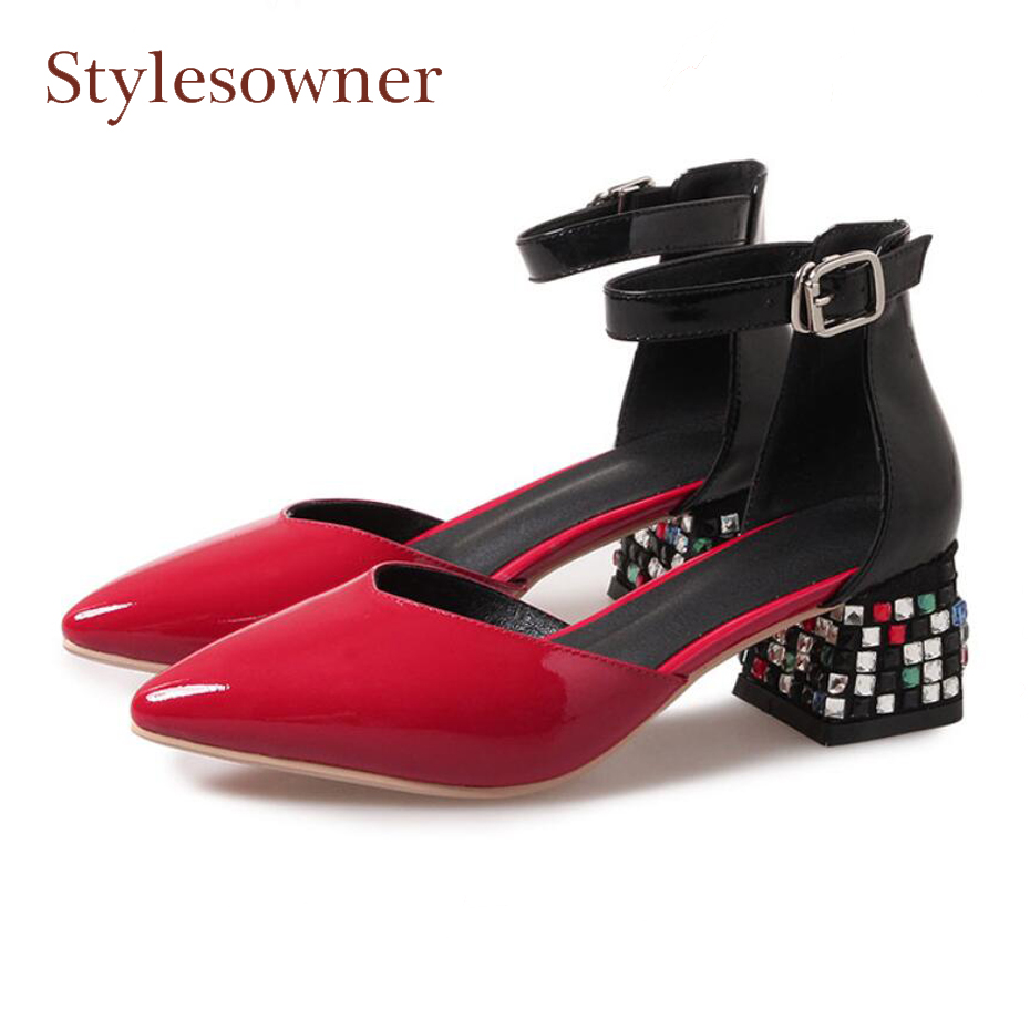 Stylesowner spring summer multi crystal deco chunky heel women pumps genuine leather mixed color buckle strap women sandal shoes stylesowner elegant lady pumps sandal shoe sheepskin leather diamond buckle ankle strap summer women sandal shoe