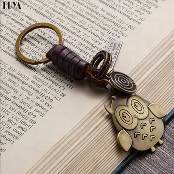 Lovely owl keychain for women Cowhide hand-weaving alloy bronze key ring Car keychains letters fashion jewelry chaveiro gift Чокер