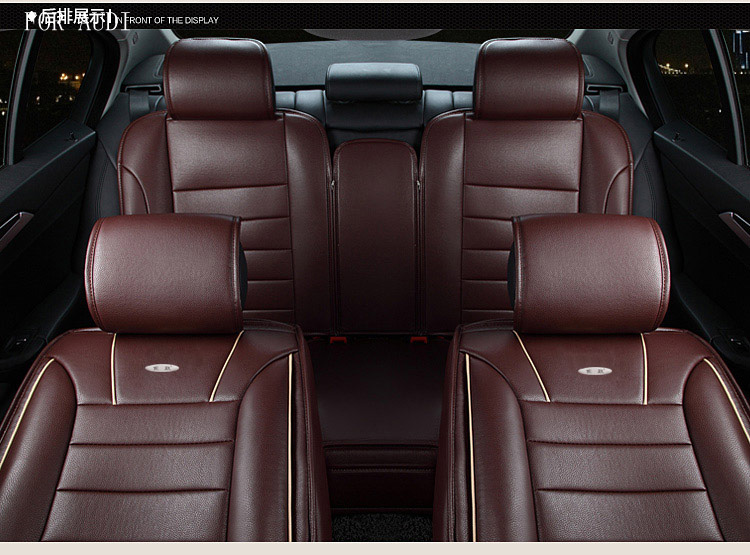 For Audi A3 A4 B6 A6 C5 A5 A8 Q5 Q7 Red Brown New Brand Luxury Pu Leather Car Cushion Cover Front And Rear Complete Seat Universal