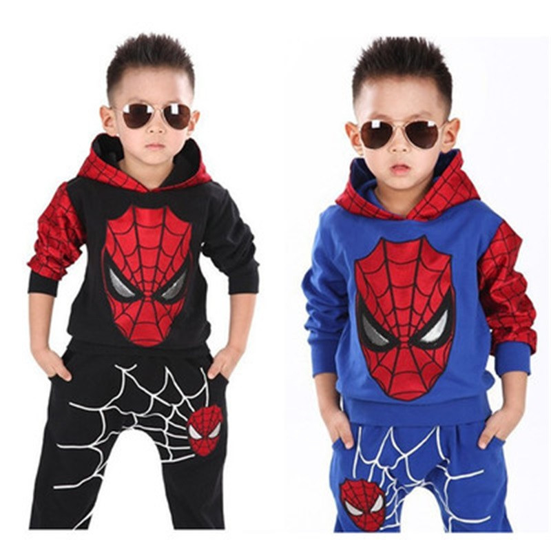 Baby autumn and winter new cotton warm suit boy casual sportswear children spider man suit boy Batman hooded sports two-piece(China)