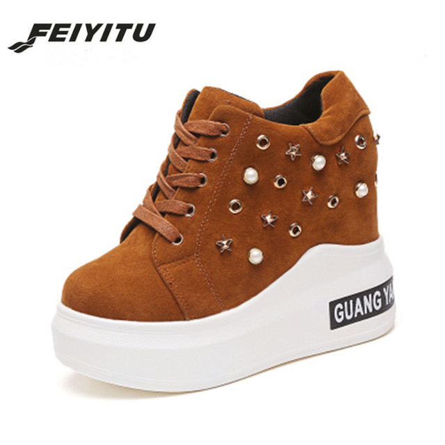 ba2fba87dd5d Feiyitu Brown Hidden Wedge Heels Fashion Women s Elevator Trainers Shoes  For Women Breathable Lace UP Height Increasing Shoes
