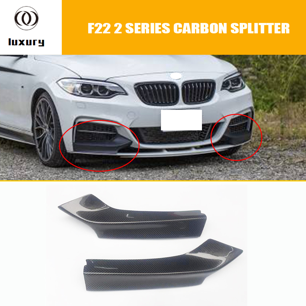 M235i Carbon Fiber Front Bumper Side Splitter for BMW F22 220i 228i M235i M240i with M Package 2014 - 2019 image
