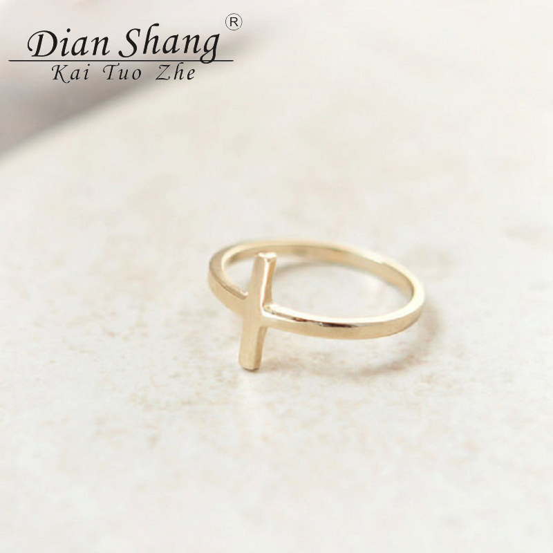 2017 Minimalism Sideways Cross Ring Prayer Jesus Religious
