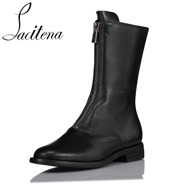 цена на Black Red Front Zipper Flat Boots Fashion Ankle Booties Genuine Leather Women Booties