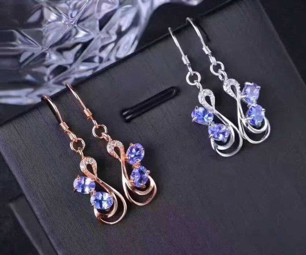 Takı ve Aksesuarları'ten Küpeler'de Doğal mavi tanzanit damla küpe s925 gümüş Doğal taş küpe kadınlar için moda Zarif güzel damla küpe parti'da  Grup 3
