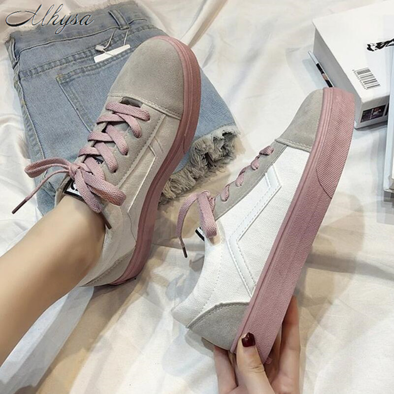 Mhysa 2019 Spring Women's Vulcanize Shoes Fashion Wild Light Canvas Flat Shoes Ladies Casual Low Lace-up Fashion Sneakers T567