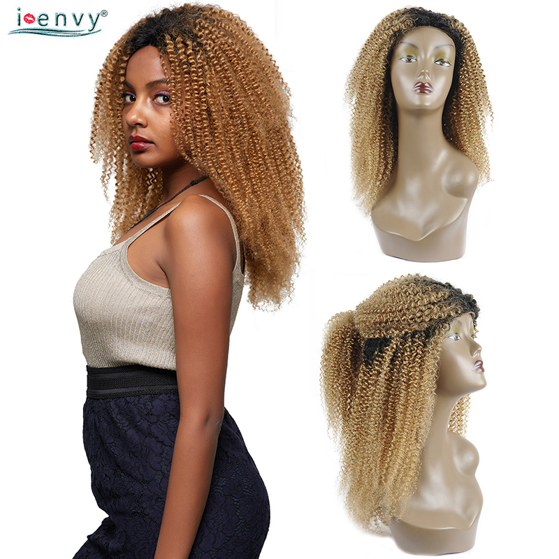 Colored Kinky Curly Front Lace Wigs Human Hair 1b 27 Ombre Lace Front Human Hair Wig Honey Blonde Brazilian Hair Wigs Non Remy